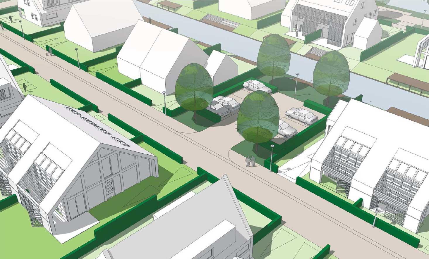 impressie parkeren - woonwijk De Wadde Plasweg Waddinxveen