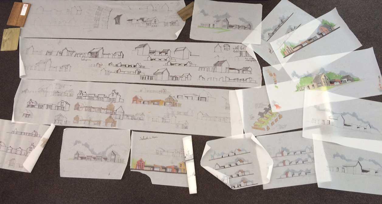 schets studies architectuur - CPO patiowoningen Sleenstraat Brielle