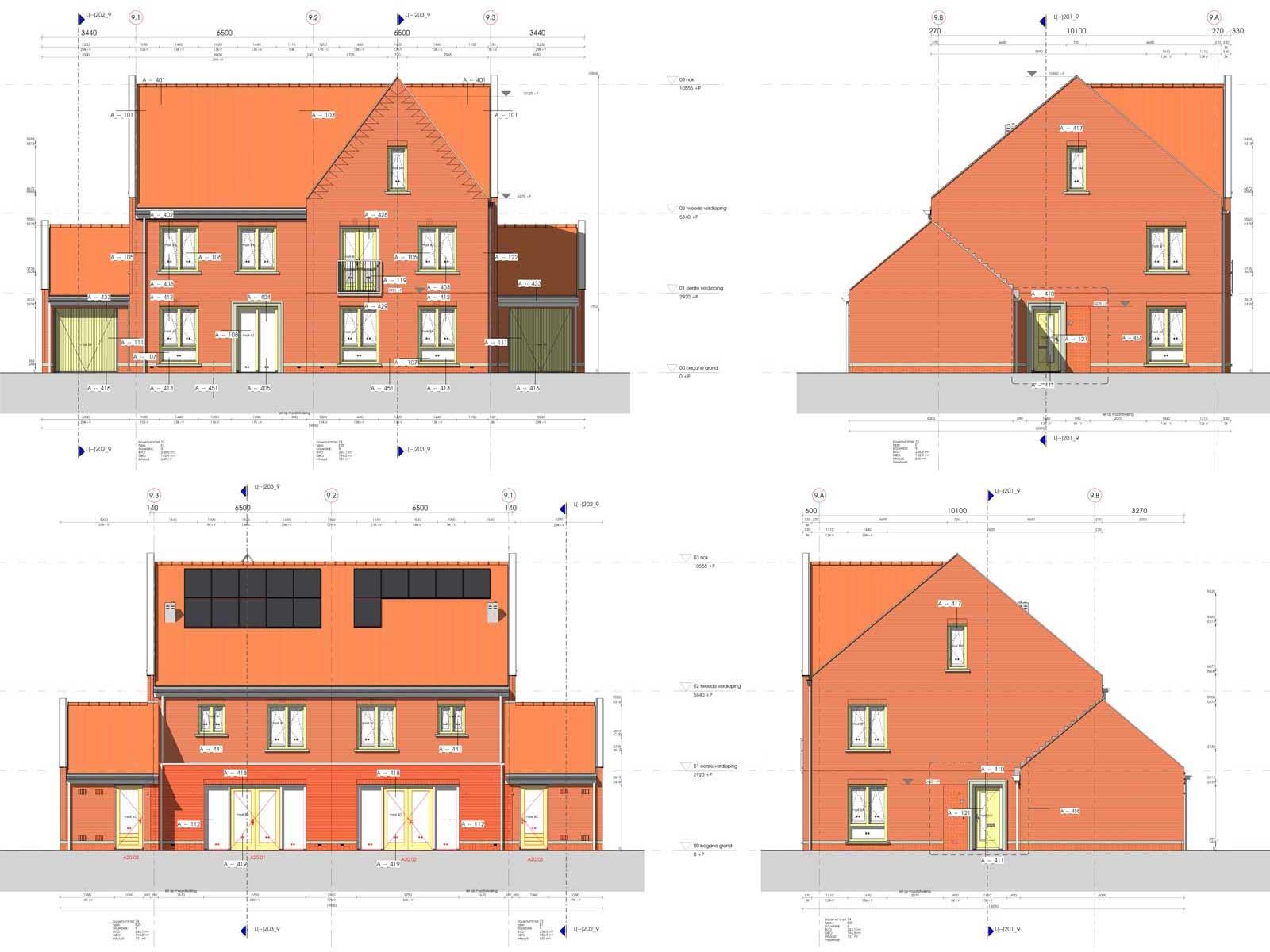 gevelaanzichten blok 9 - Zilverrijk in Schoonhoven