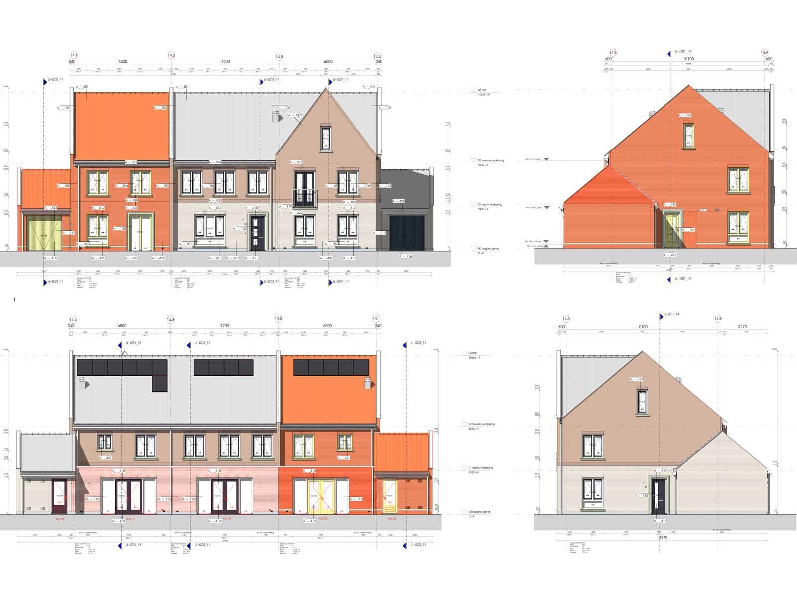gevelaanzichten blok 14 - Zilverrijk in Schoonhoven