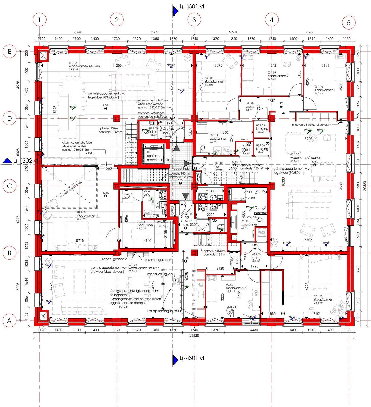 plattegrond eerste verdieping van renovatie en transformatie monument De Wasserij te Woerden