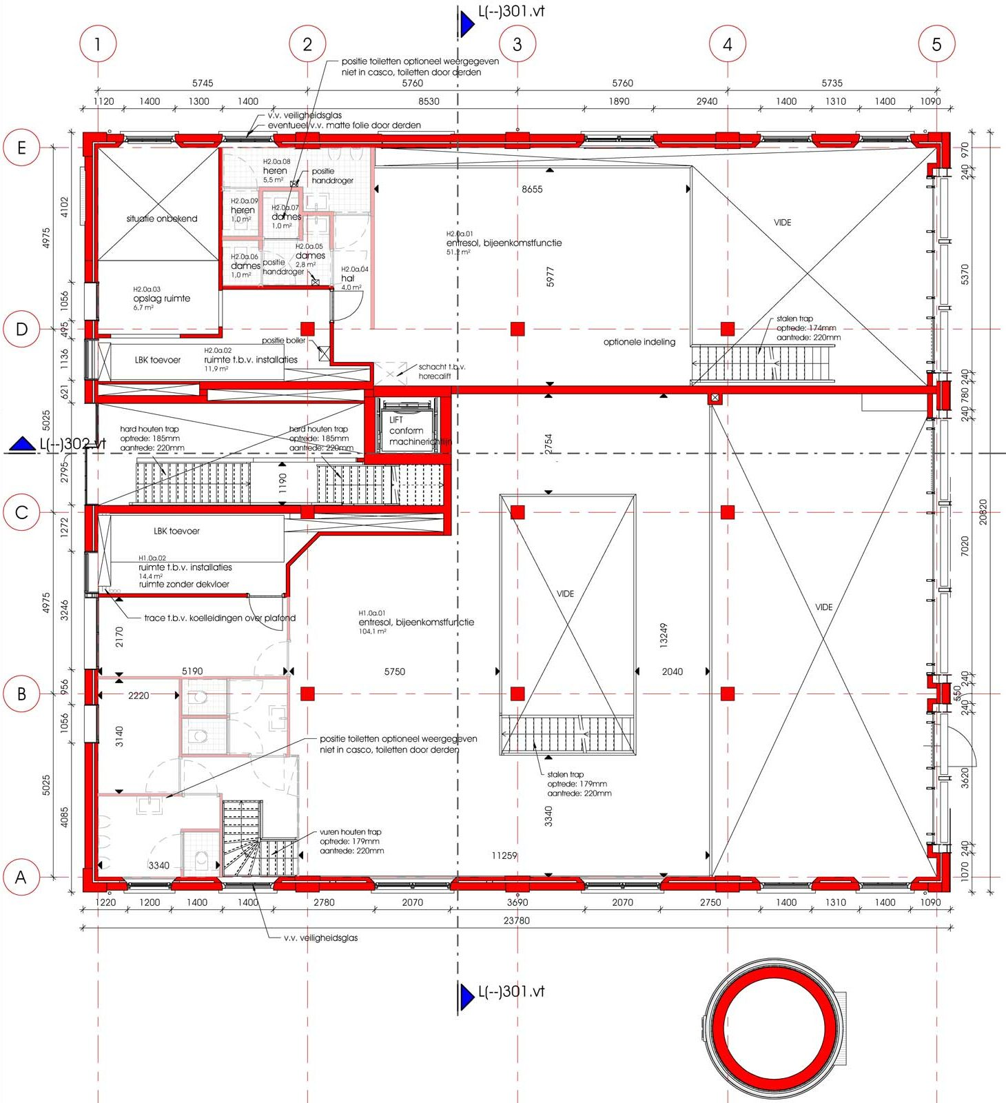 plattegrond entresol van renovatie en transformatie monument De Wasserij te Woerden