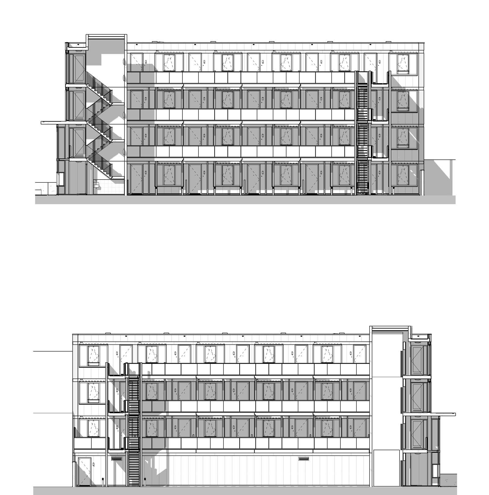 Appartementencomplex Welgelegen Blok G Utrecht - Gevelaanzichten binnenhof