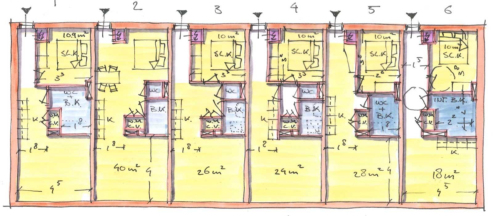 Appartementencomplex Welgelegen Blok G Utrecht - mogelijke indelingen appartementen