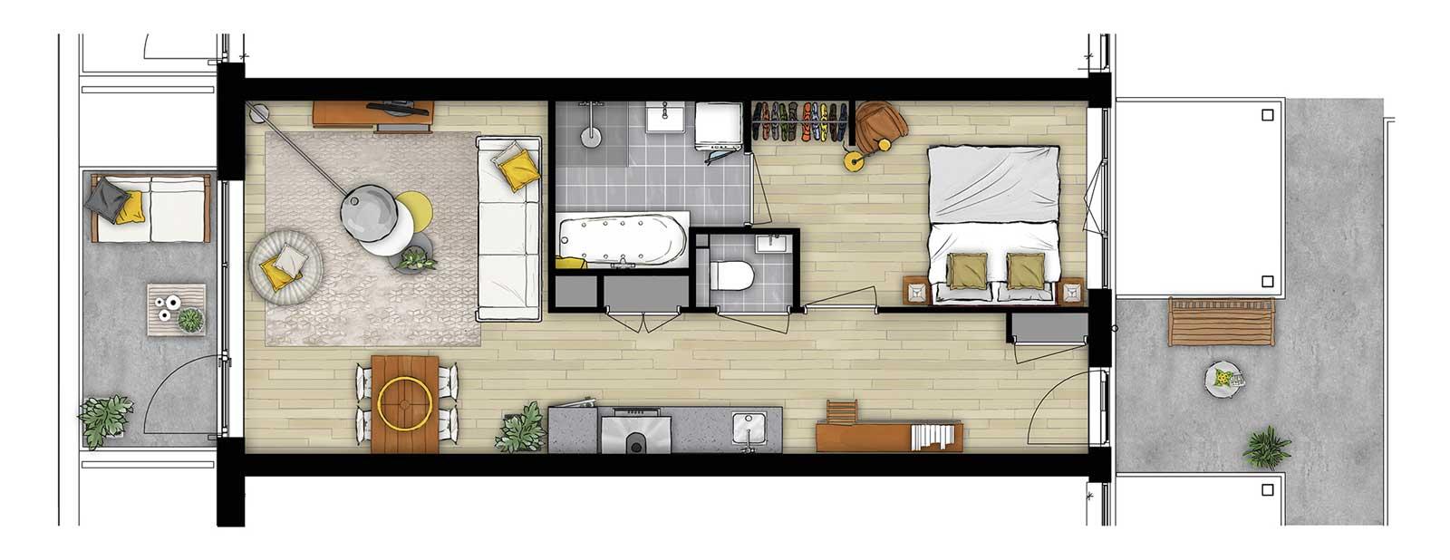 Appartementencomplex Welgelegen Blok G Utrecht - impressie plattegrond type B