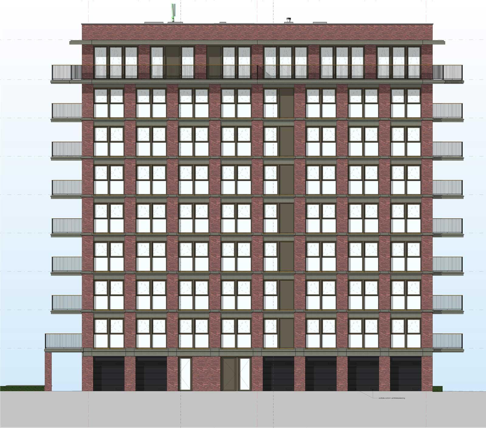 Ede residentie Enka appartementencomplex -Achtergevel