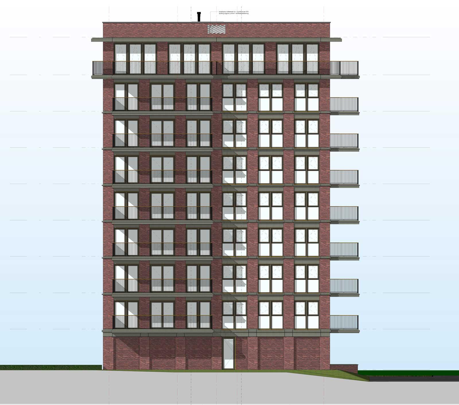 Ede residentie Enka appartementencomplex - Linker zijgevel