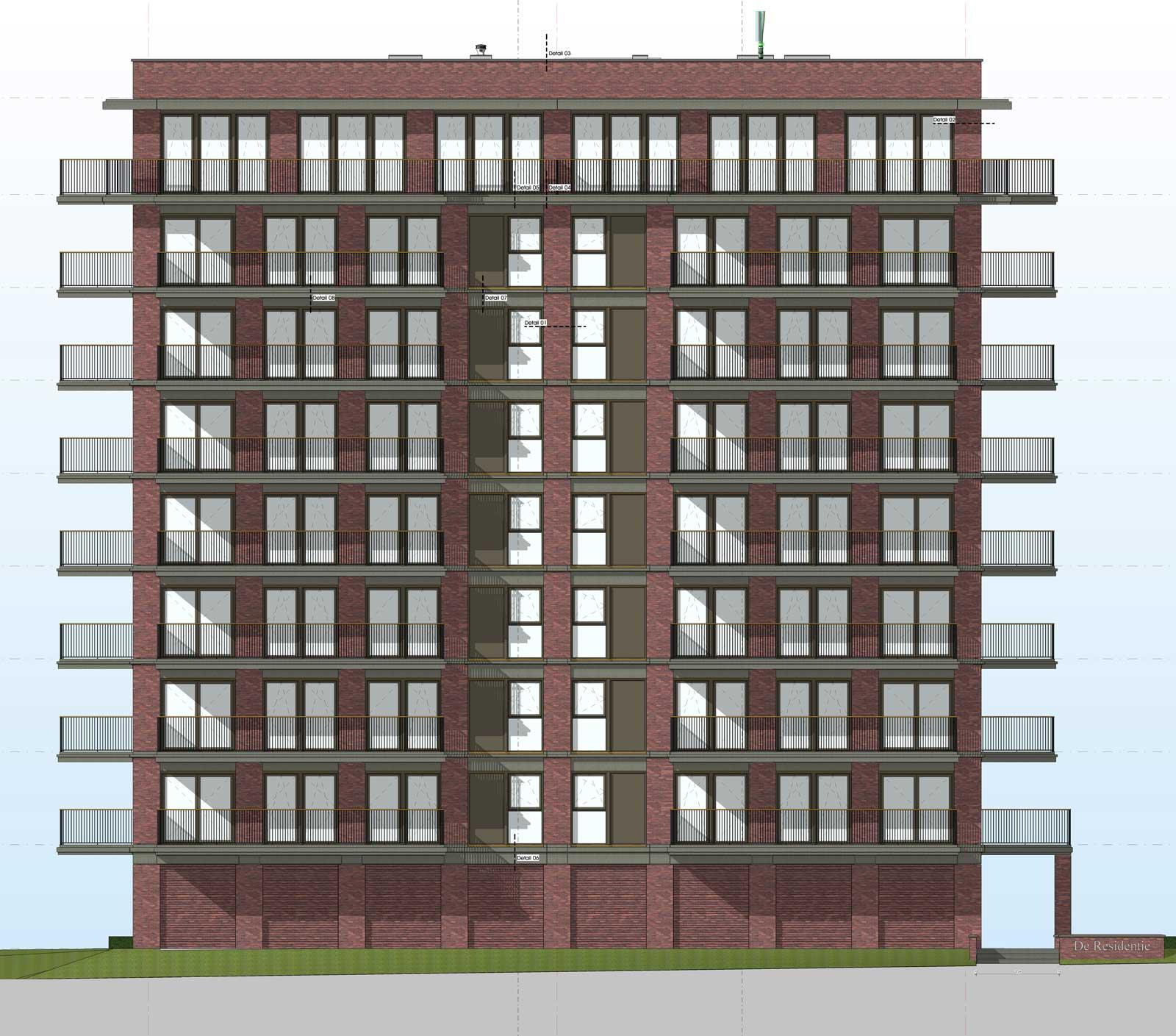 Ede residentie Enka appartementencomplex -Voorgevel