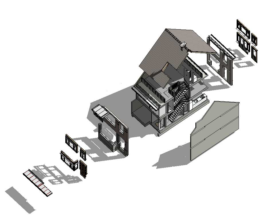 exploded view BIM model - De Jonge Veenen Moerkapelle