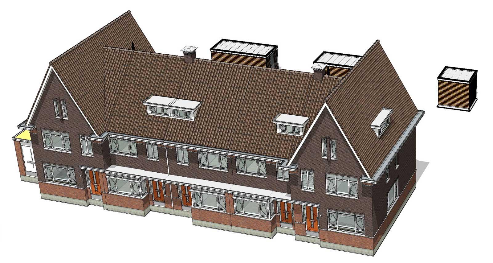 isometrie BIM model blok 4 - De Jonge Veenen Moerkapelle