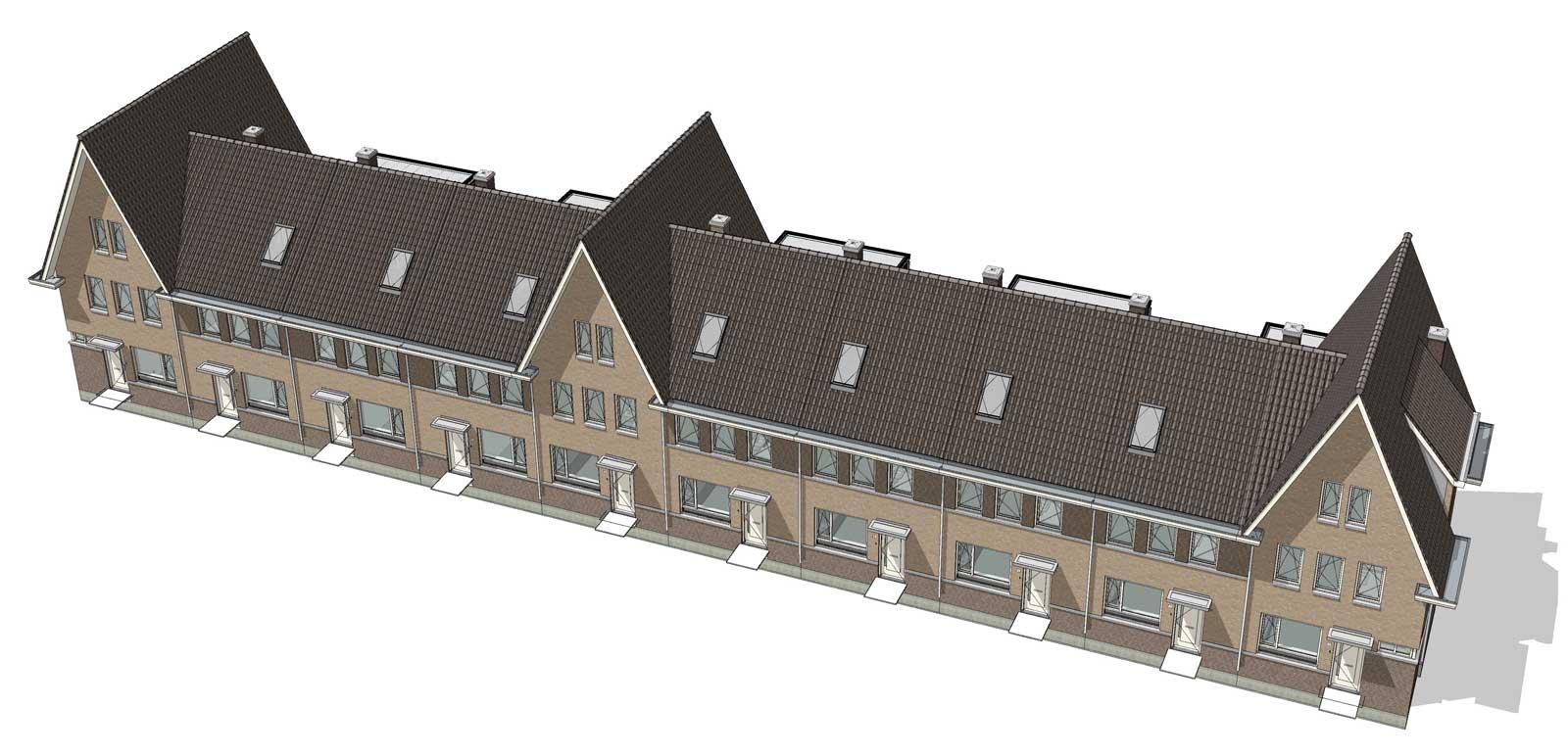 isometrie BIM model huurwoningen - De Jonge Veenen Moerkapelle
