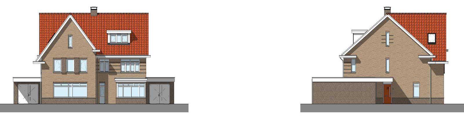 gevelaanzicht type G1 en G2 - De Jonge Veenen 2 Moerkapelle