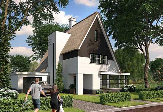 moderne rietgedekte woningen Moerkapelle