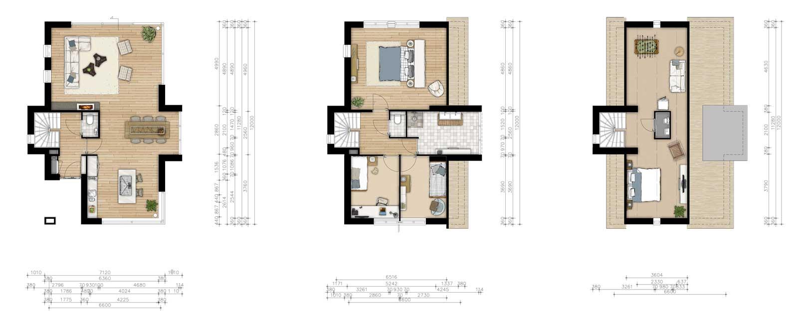 plattegronden vrijstaande woning- rietgedekte woningen Moerkapelle