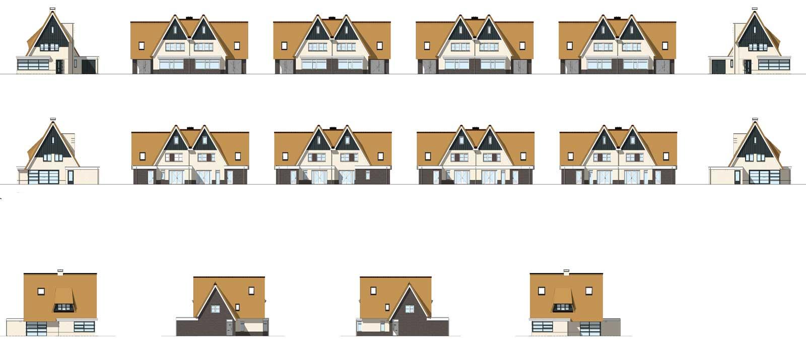 gevelaanzichten - rietgedekte woningen Moerkapelle