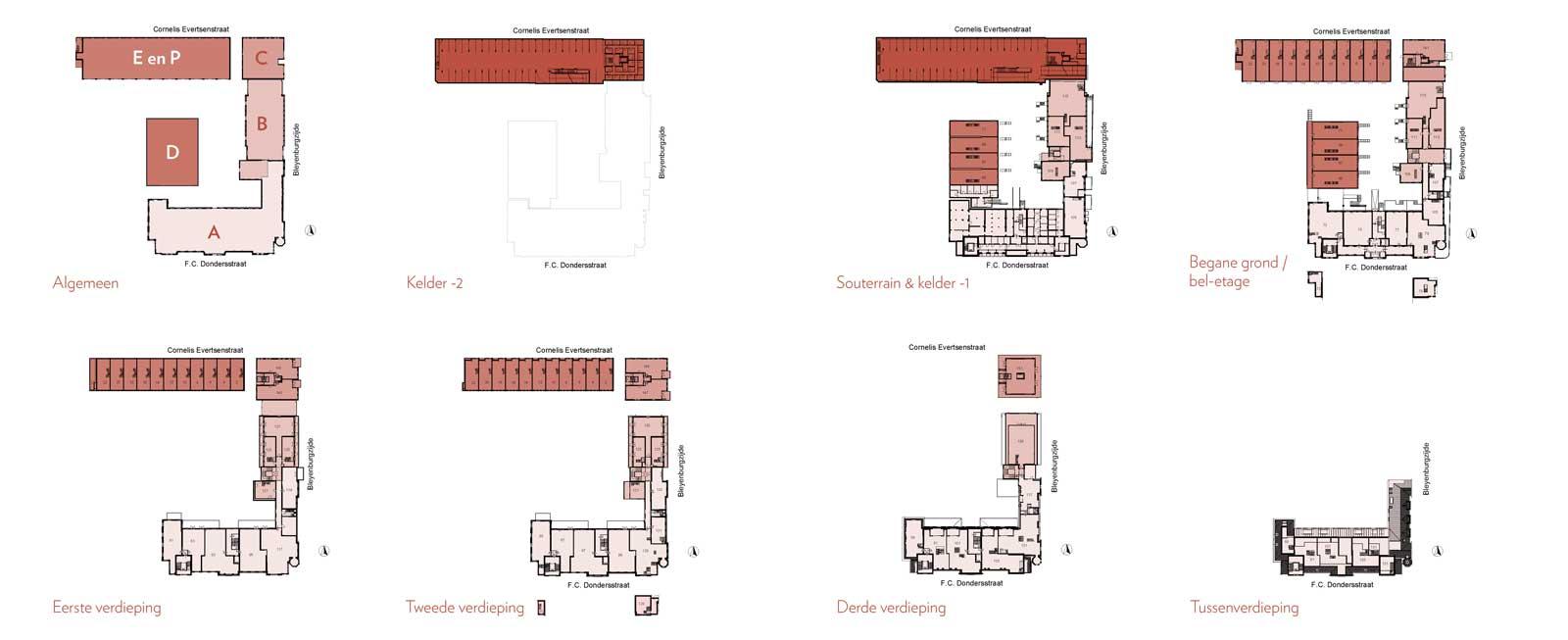plattegronden bouwdelen - Rijksmonument Ooglijdersgasthuis Utrecht