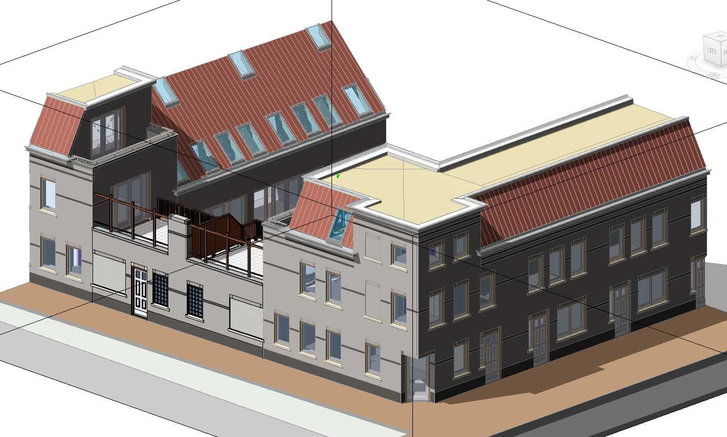 BIM model architectuur - Utrecht De Novelle stadswoningen