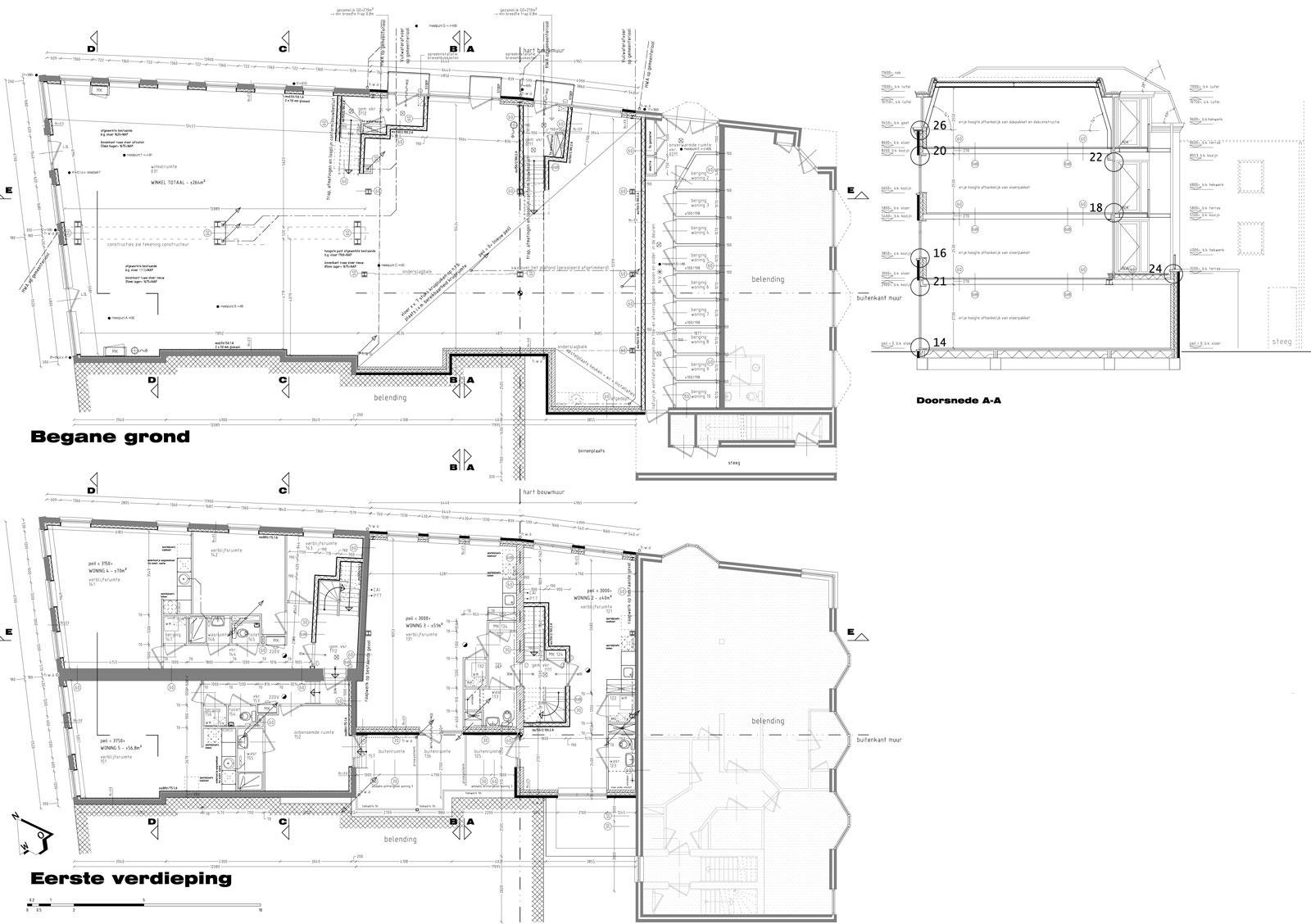 bouwtekening begane grond en eerste verdieping - wonen boven winkels Peperstraat Purmerend