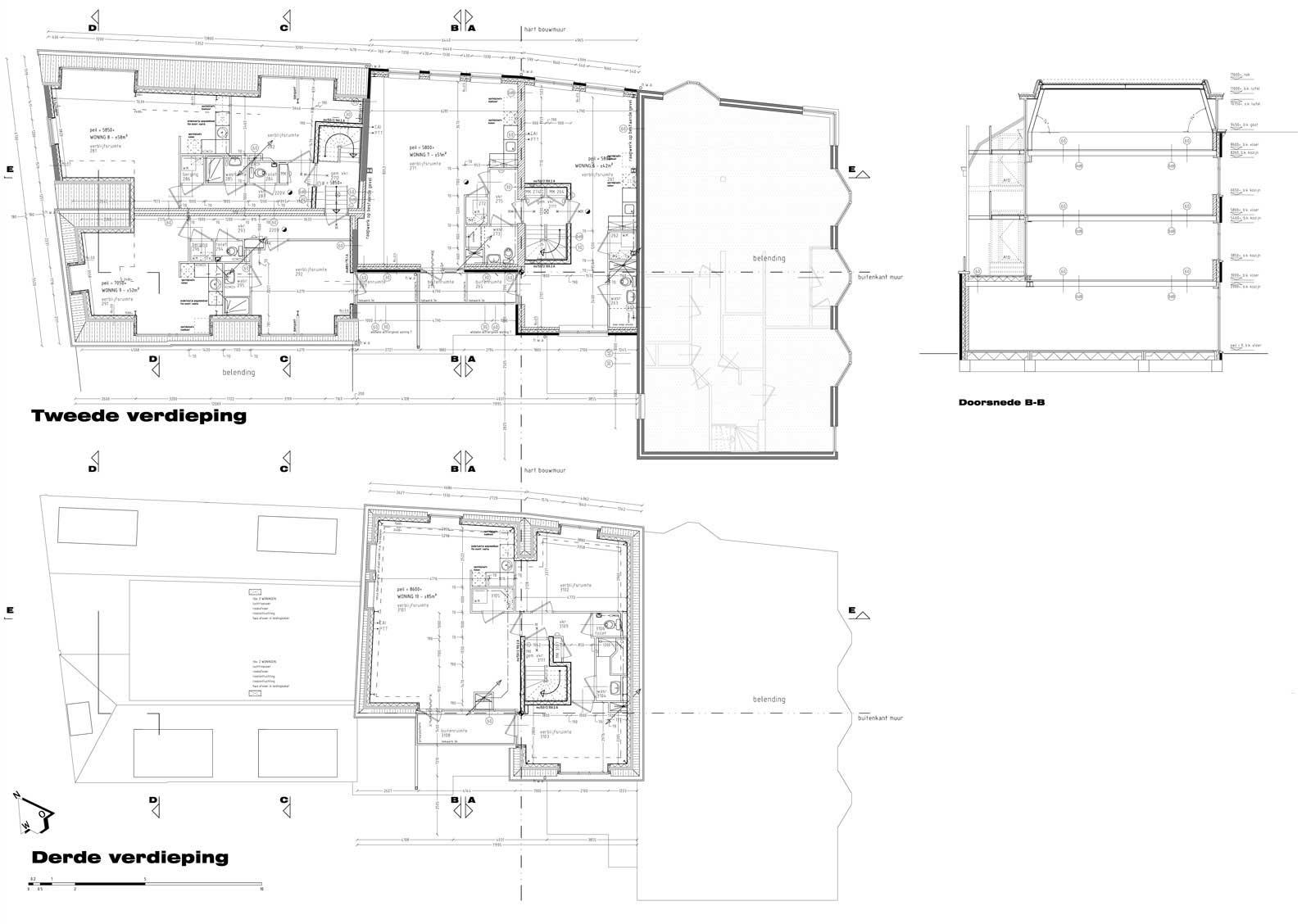 bouwtekening tweede en derde verdieping - wonen boven winkels Peperstraat Purmerend