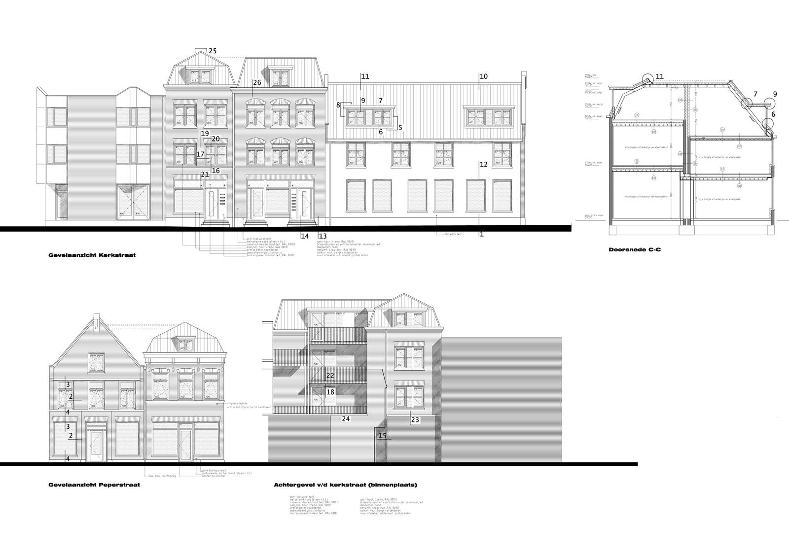 bouwtekening geveltekeningen - wonen boven winkels Peperstraat Purmerend