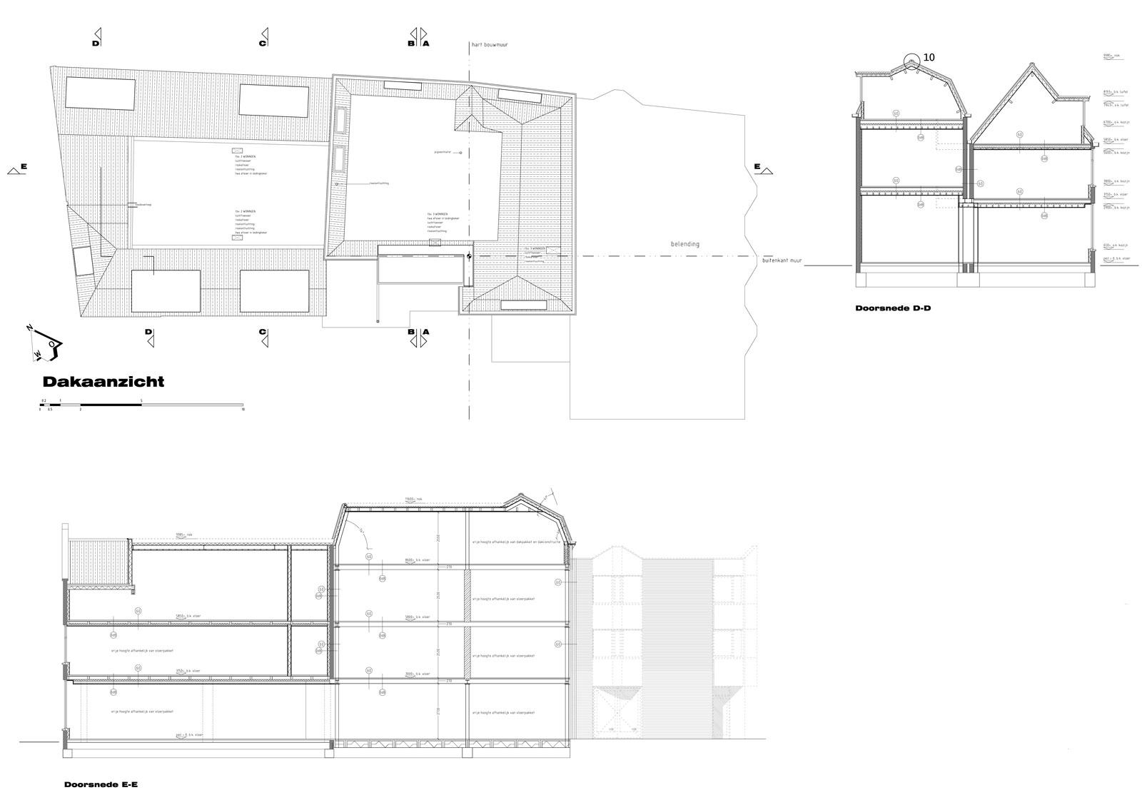 bouwtekening dakaanzicht en doorsneden - wonen boven winkels Peperstraat Purmerend