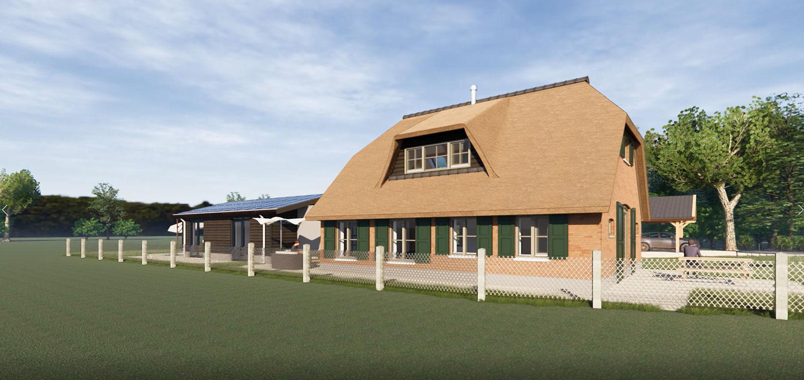 impressie linker zijgevel - particulier woonhuis boerderij Vaassen