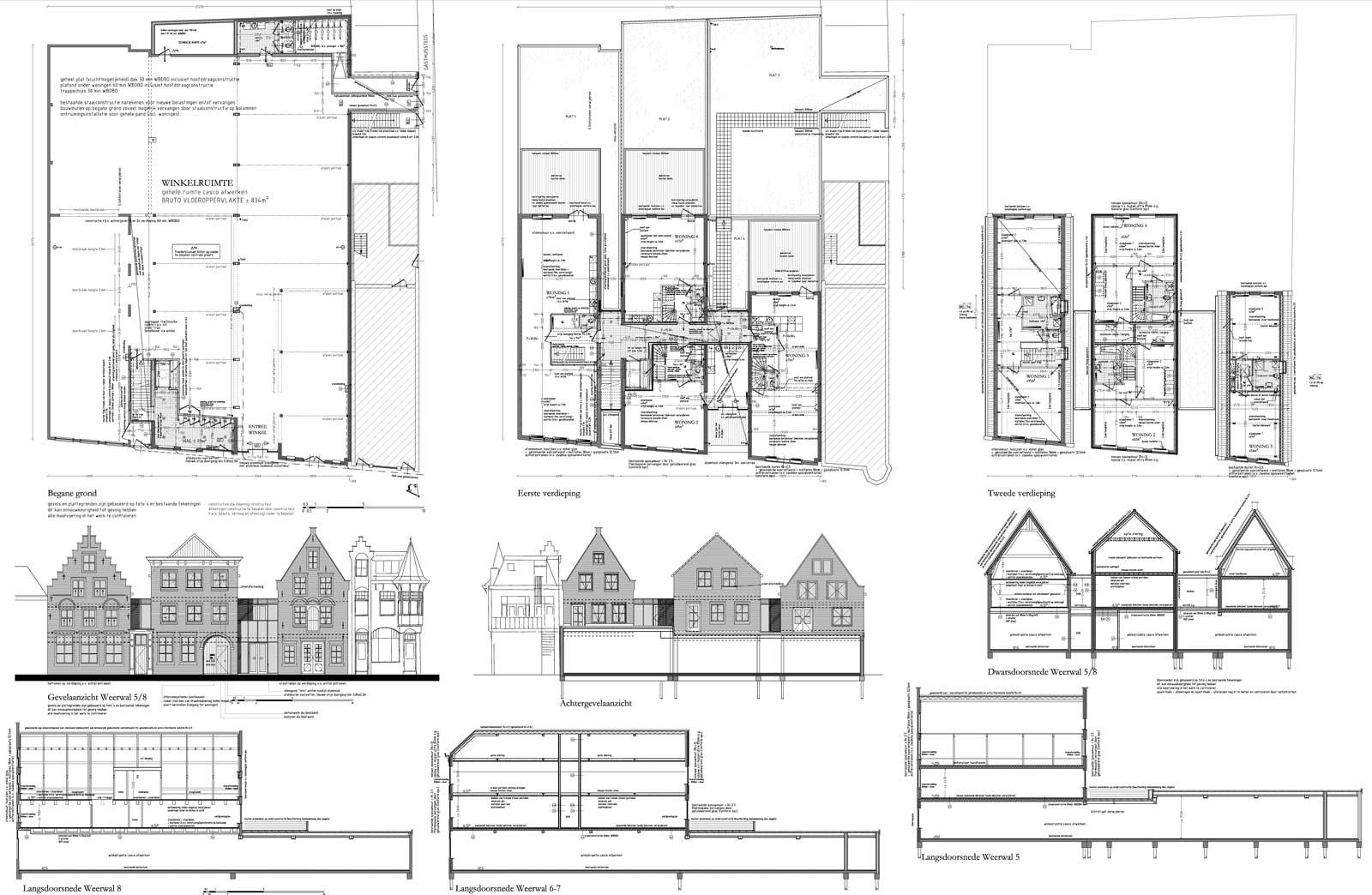 bouwtekening - rijksmonument winkel met stadsappartementen Weerwal Purmerend