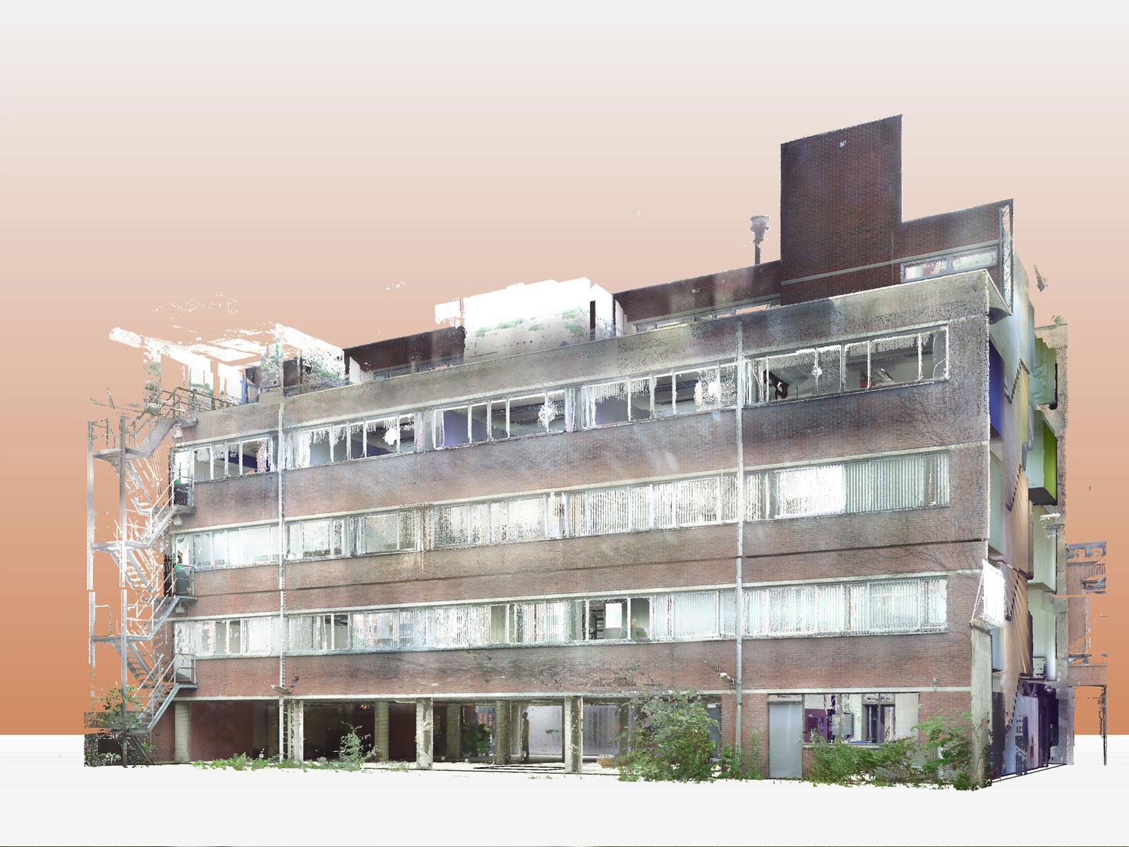 poincloud bestaande toestand - transformatie kantoor loftwoningen Noordsingel Rotterdam