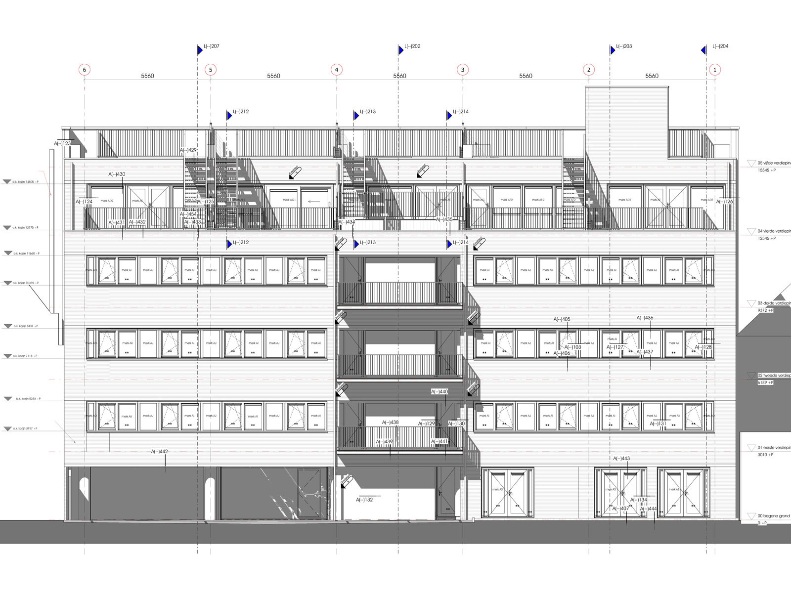 achtergevel - transformatie kantoor loftwoningen Noordsingel Rotterdam