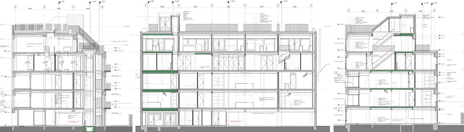 doorsneden - transformatie kantoor loftwoningen Noordsingel Rotterdam