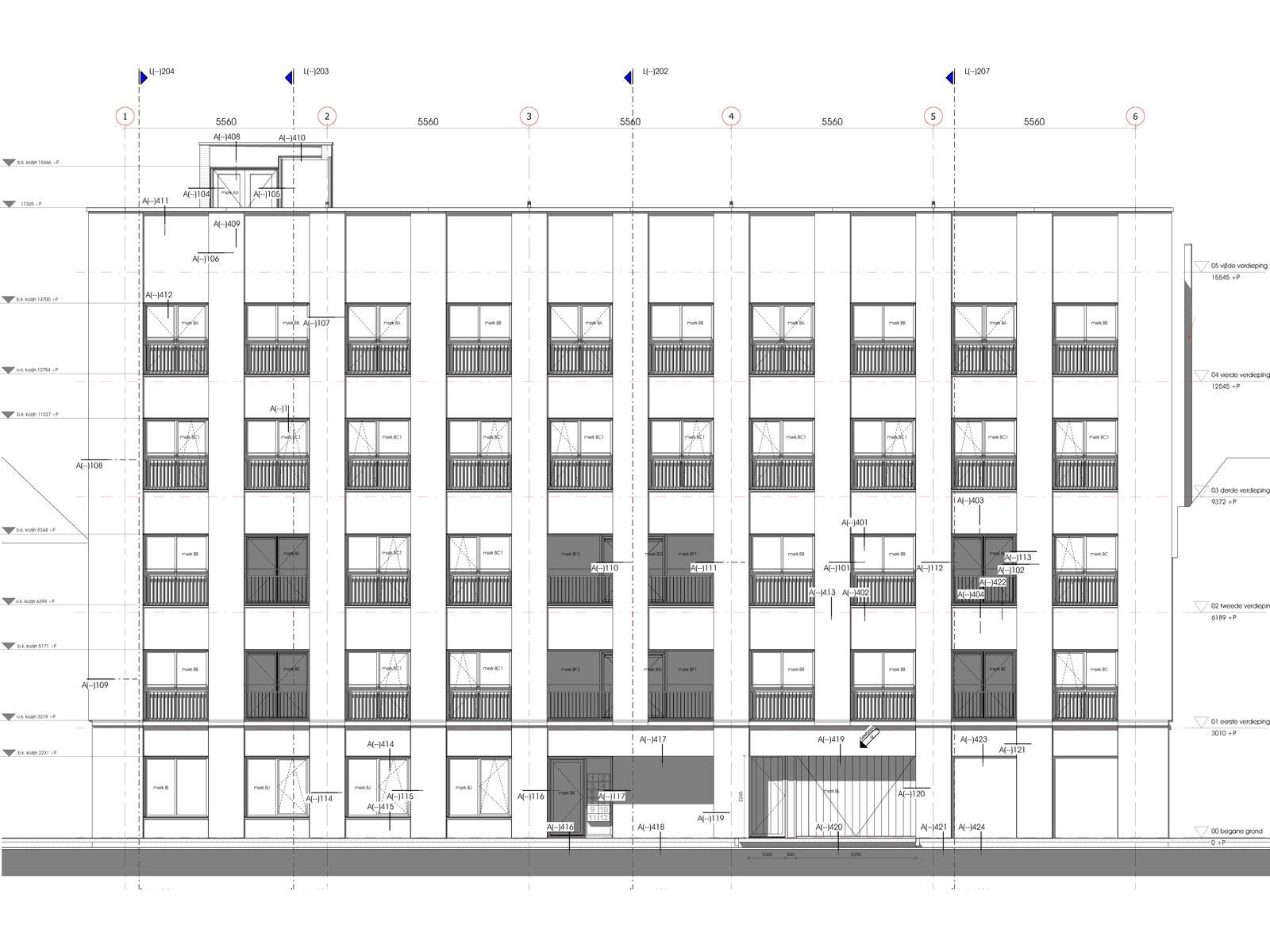voorgevel - transformatie kantoor loftwoningen Noordsingel Rotterdam