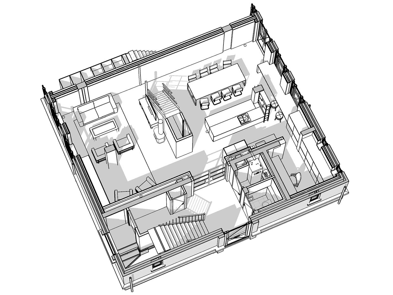 Industrieel loftwonen in Raamwerk 75 Woerden - 3D view begane grond