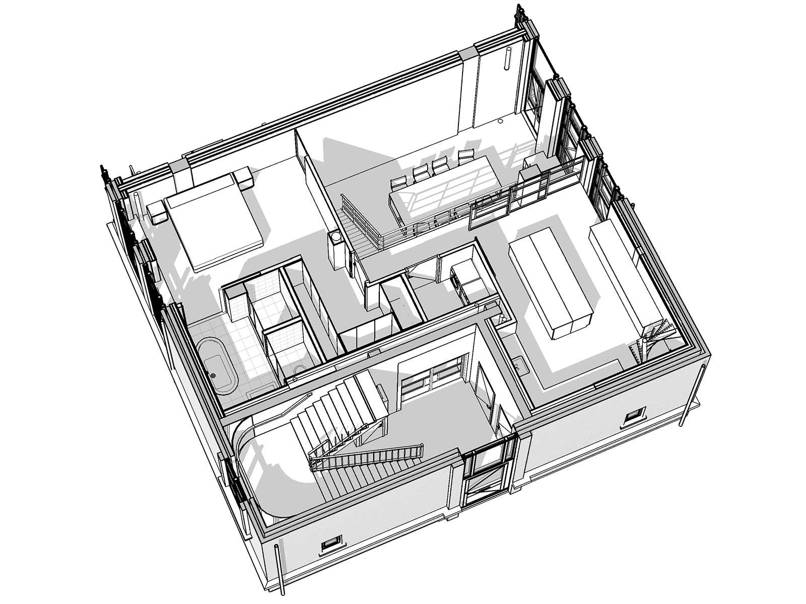 Industrieel loftwonen in Raamwerk 75 Woerden - 3D view nieuwe tussenvloer / entresol
