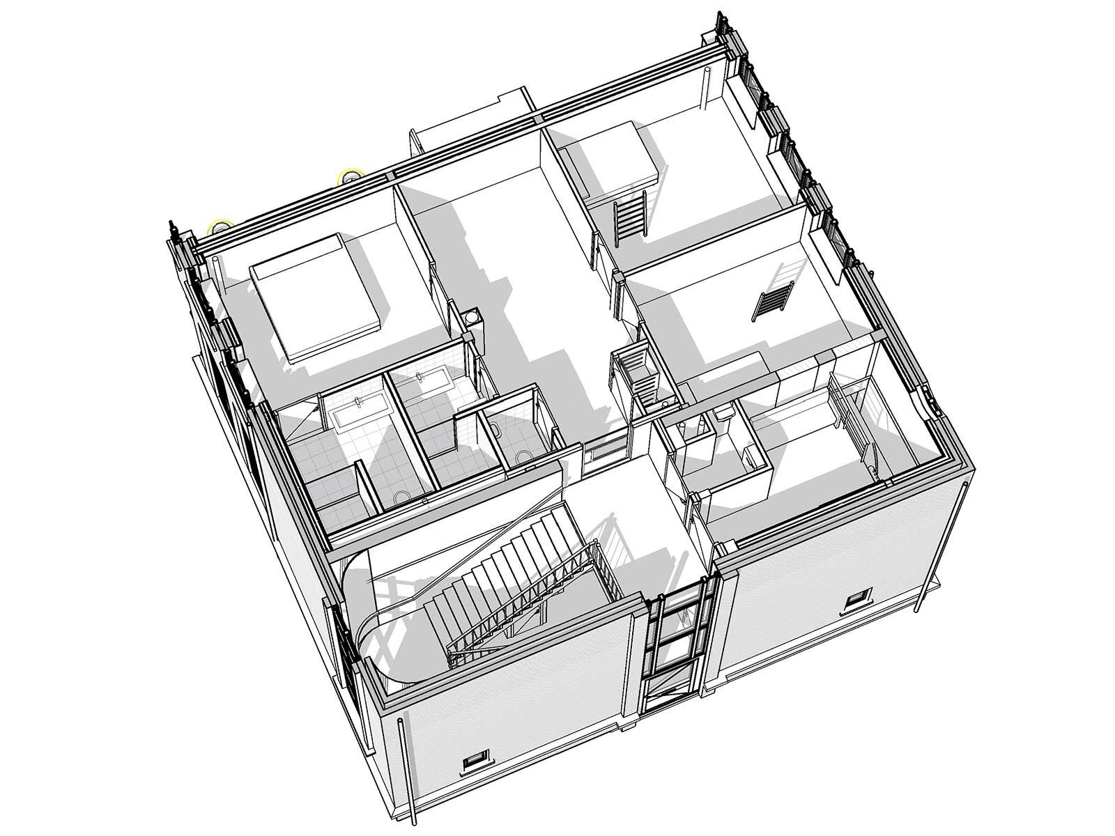 Industrieel loftwonen in Raamwerk 75 Woerden - 3D view eerste verdieping