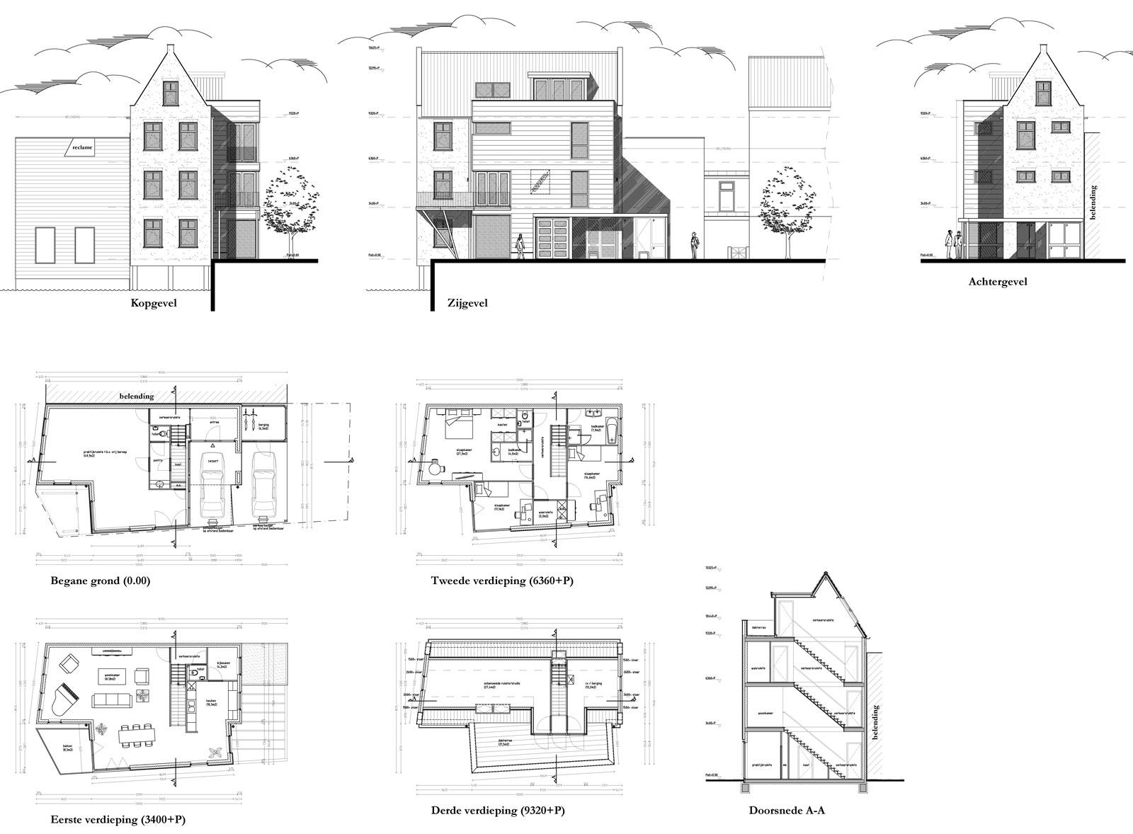gevelaanzichten en plattegronden - woning met praktijkruimte Ooievaarsteeg Schiedam