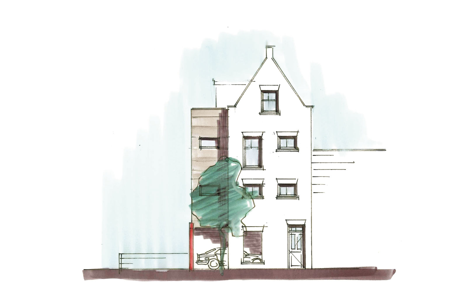 schets achtergevel - woning met praktijkruimte Ooievaarsteeg Schiedam