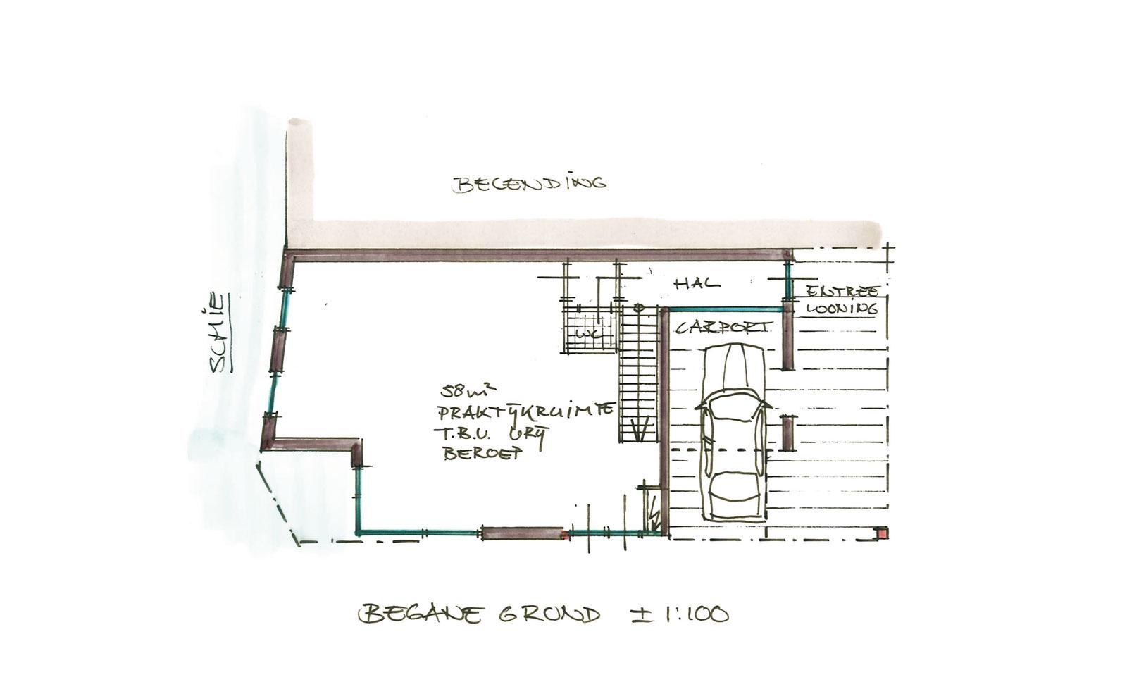 schets begane grond - woning met praktijkruimte Ooievaarsteeg Schiedam