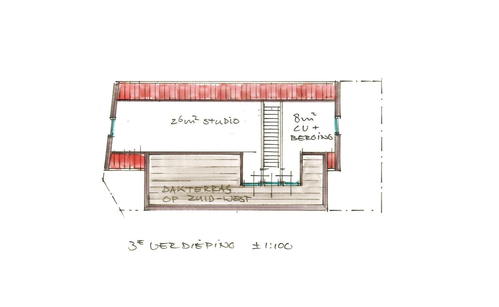 schets derde verdieping - woning met praktijkruimte Ooievaarsteeg Schiedam