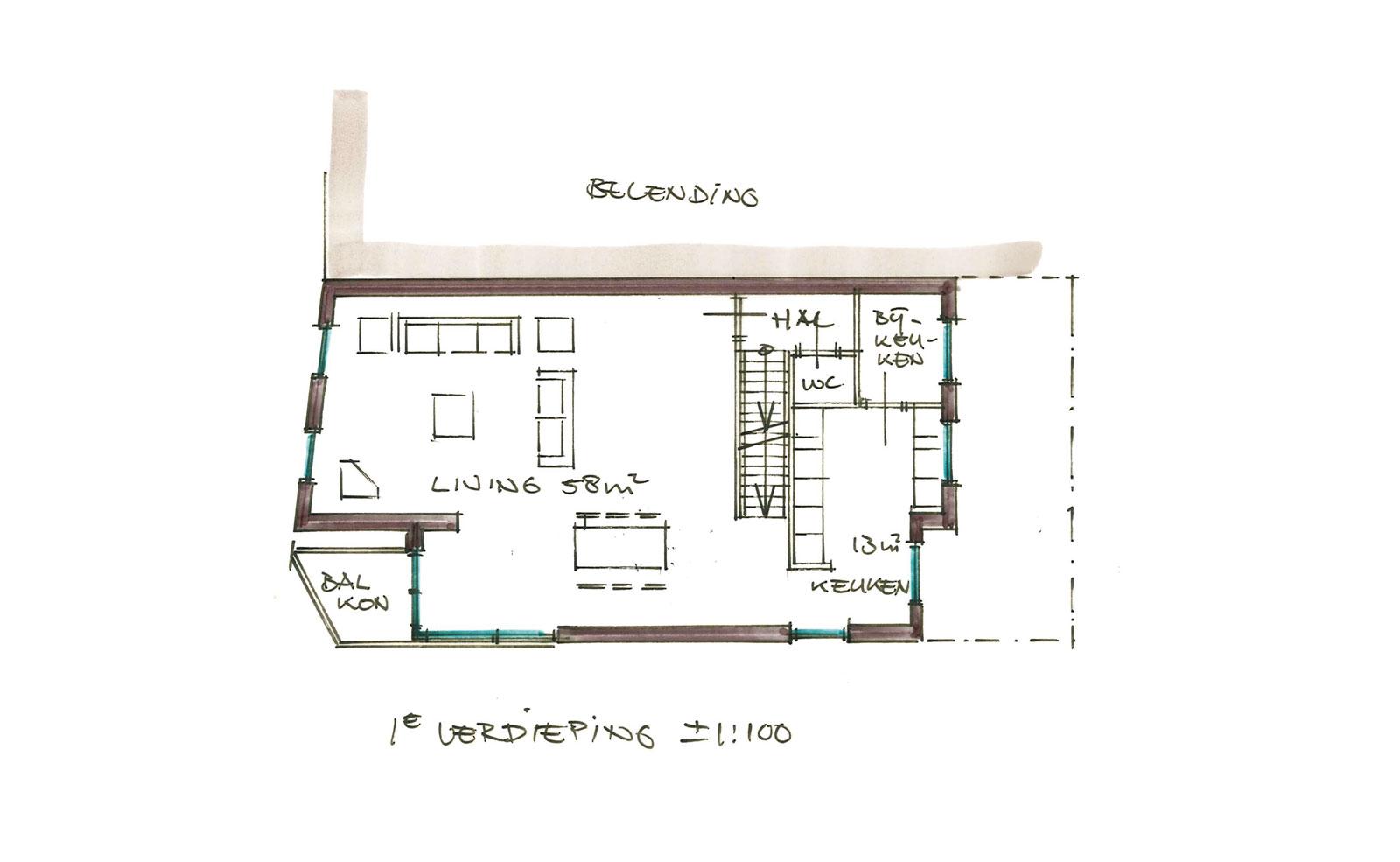 schets eerste verdieping - woning met praktijkruimte Ooievaarsteeg Schiedam