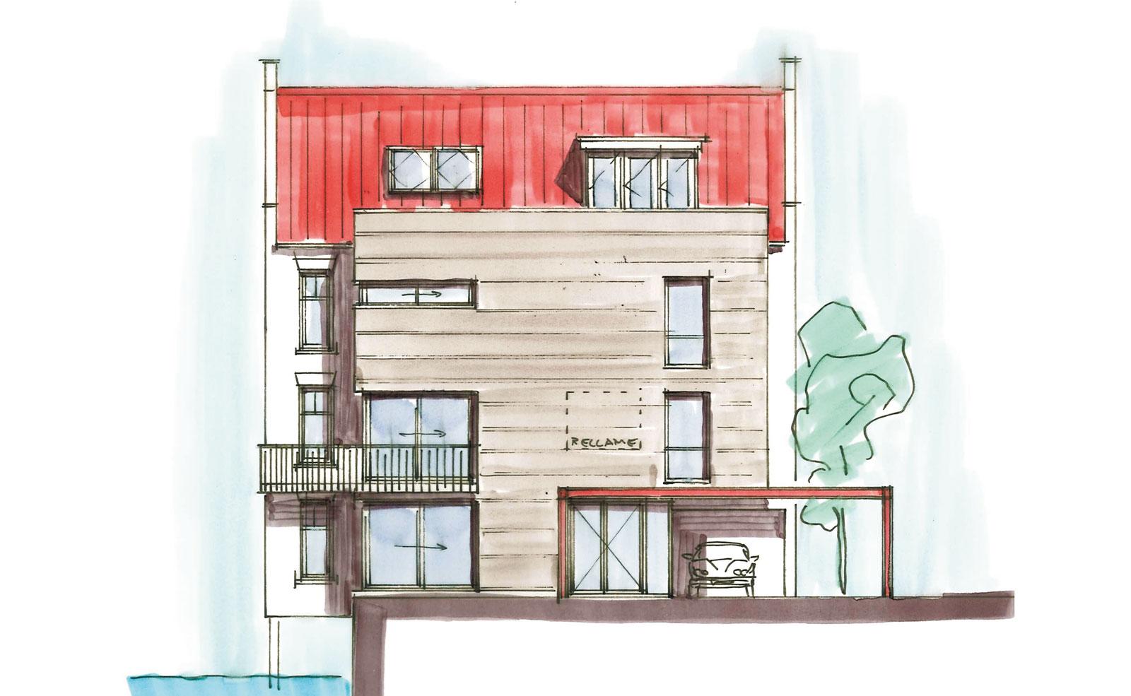 schets langsgevel - woning met praktijkruimte Ooievaarsteeg Schiedam