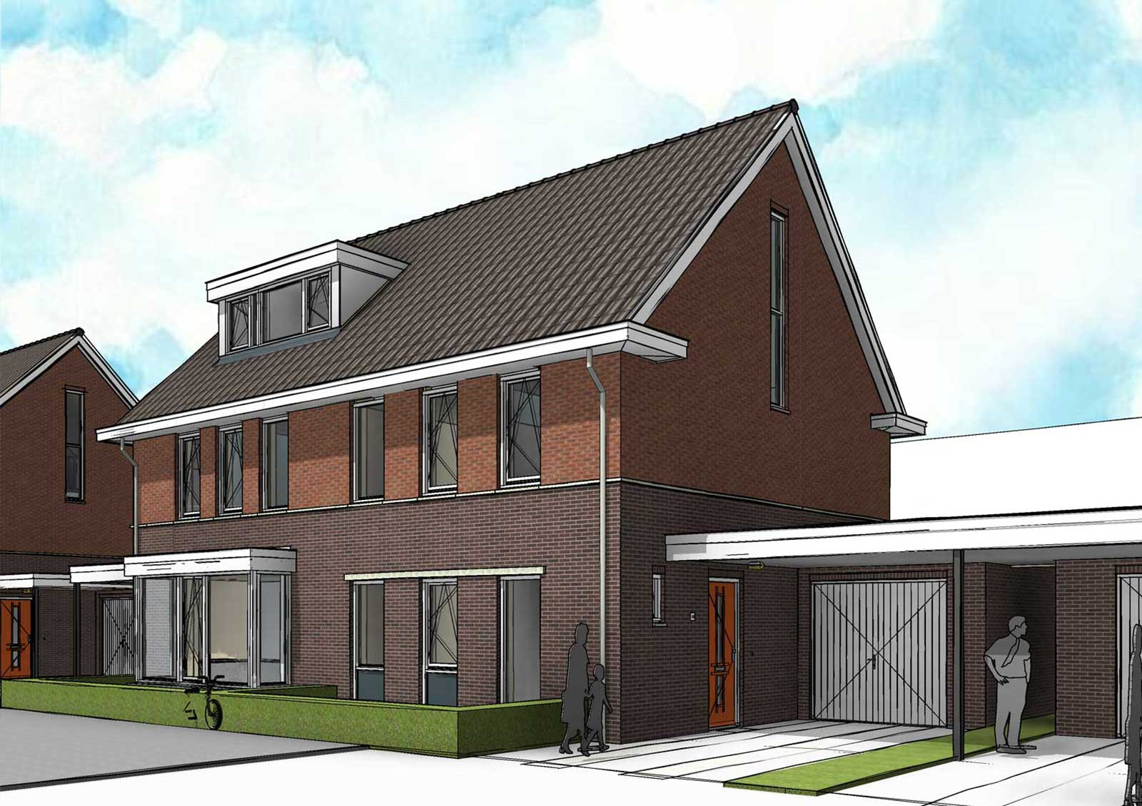impressie BIM model kavel 2 - CPO Oudenbosch 2 onder 1 kappers
