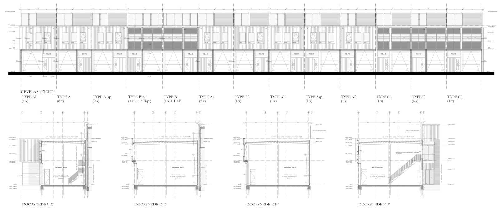 bouwtekening gevelaanzicht en doorsneden - bedrijfsunits Leeuwensingel Reeuwijk