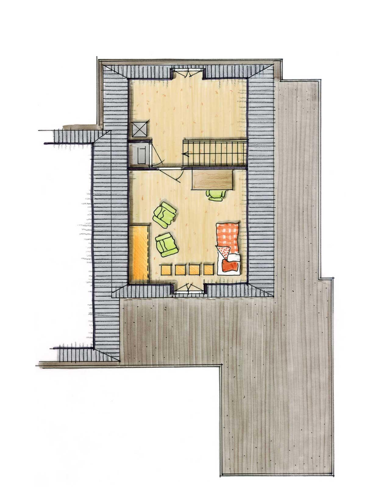 schetsontwerp eerste verdieping - patiowoningen Moerdijkhof Moerkapelle