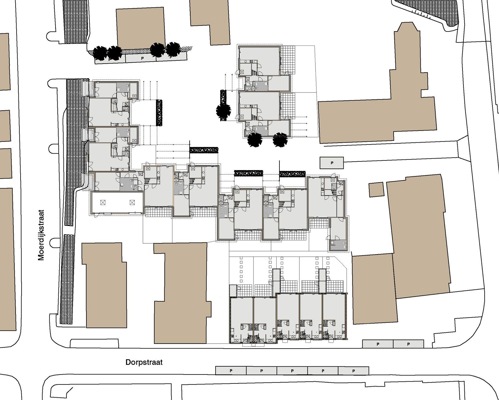 situatietekening - patiowoningen Moerdijkhof Moerkapelle
