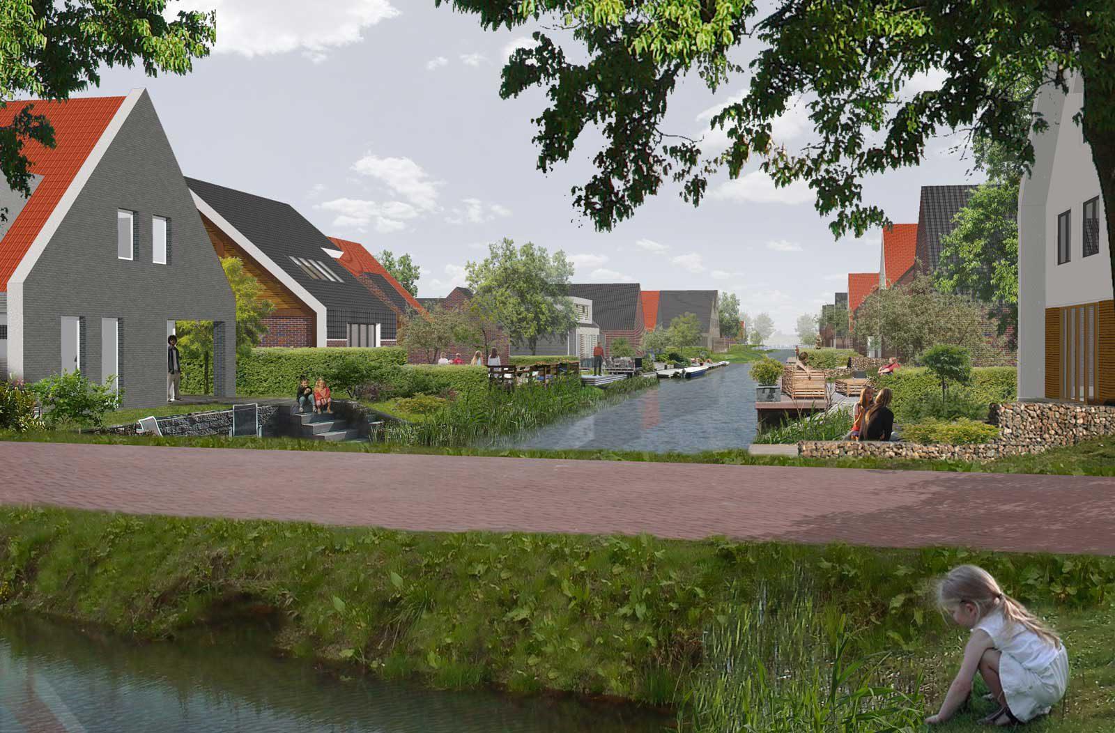 impressie watergang - woonwijk De Wadde Plasweg Waddinxveen