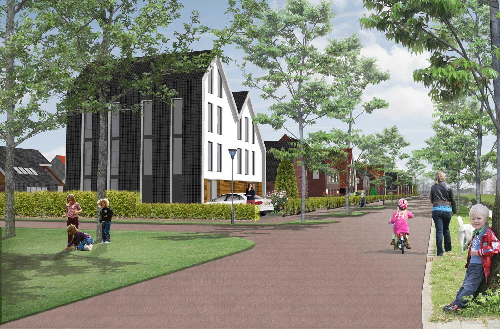 impressie Toernooiweg - woonwijk De Wadde Plasweg Waddinxveen