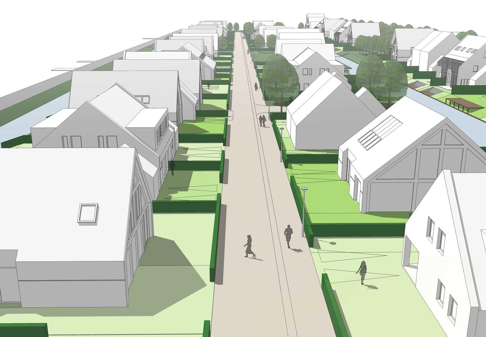 impressie woonstraat - woonwijk De Wadde Plasweg Waddinxveen