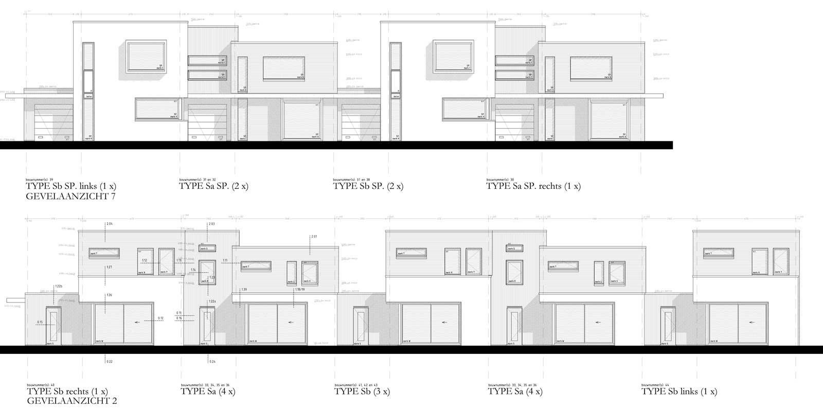 bouwtekening gevelaanzichten - villa Bracklaan Reeuwijk