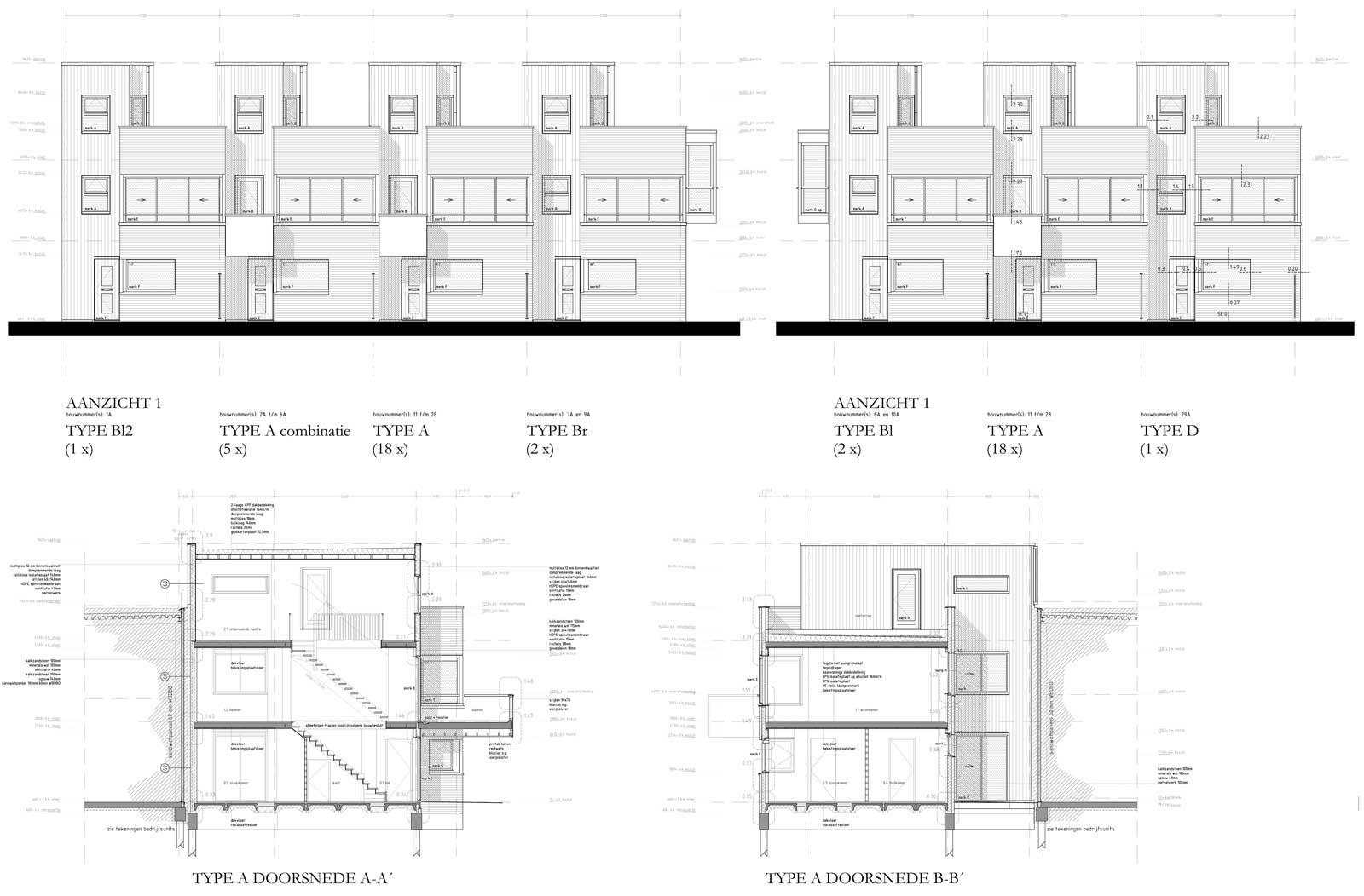bouwtekening gevels en doorsneden - starterswoning Bracklaan Reeuwijk